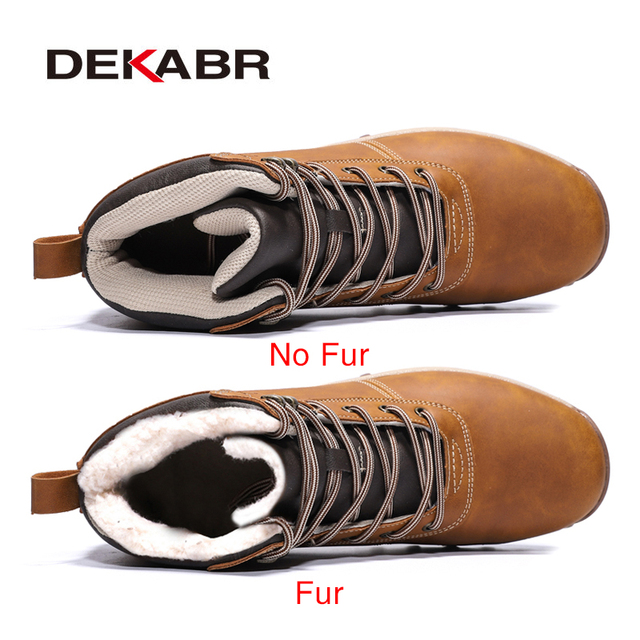 DEKABR Winter Warm Men Boots Genuine Leather Fur Plus Men Snow Boots Handmade Waterproof Working Ankle Boots High Top Men Shoes 1