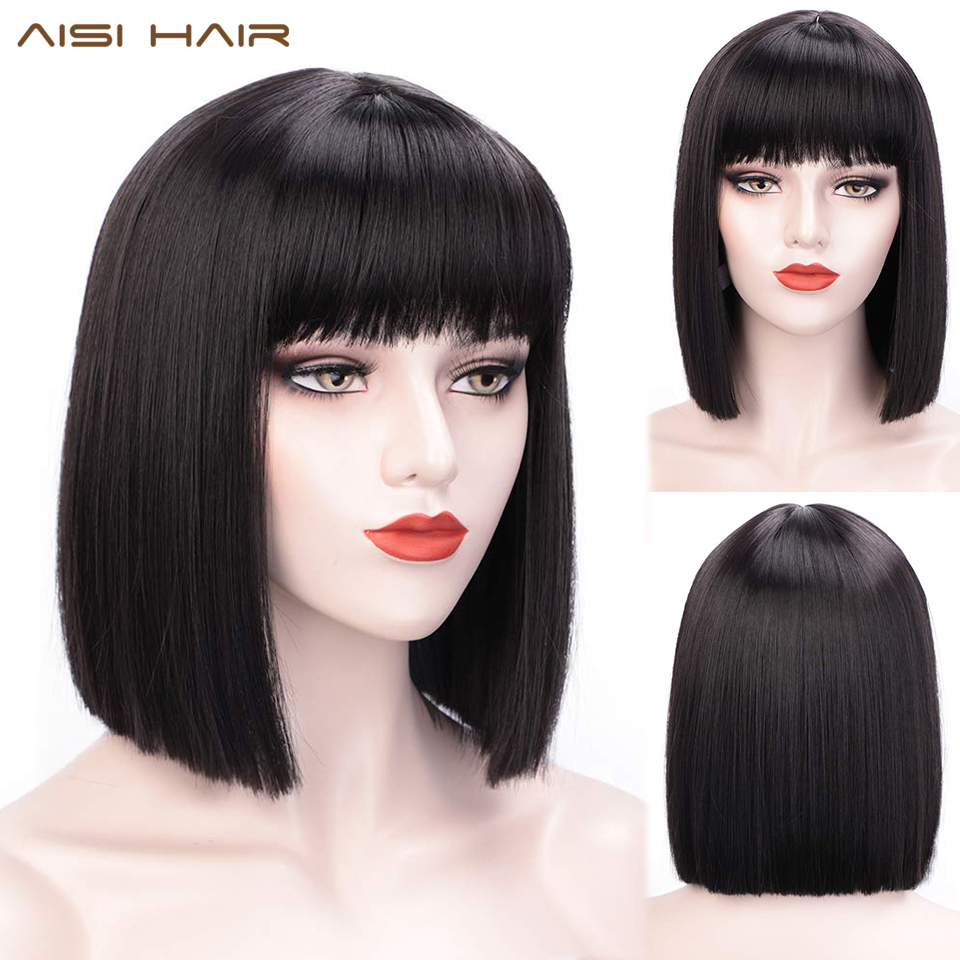 AISI HAIR Synthetic Bob Wigs For Women Short Bob Wig With Bangs Fake Hair Extension Black Pink Purple Wig Heat Resistant Hair