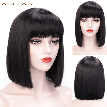 AISI HAIR Short Bob Wig With Bangs for Women Synthetic Bob Wigs Black Pink Purple Wig Cosplay Wig Heat Resistant Hair 2 6 inch bob short wig with flat bangs black 100% breathable realistic high temperature resistant synthetic wig