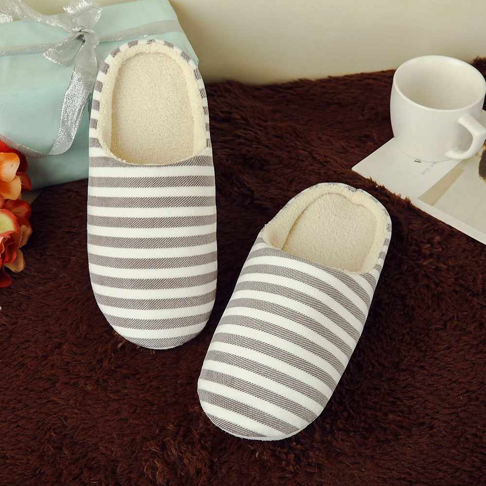 Winter Home Slippers Women Shoes Soft Velvet Lady Indoor Shoes Striped Flats Slipper For Women Warm Cotton Men Shoes Pantufas