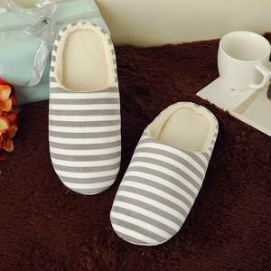 Slippers Women Shoes Striped Winter Home Warm Soft Velvet Indoor for Cotton Pantufas