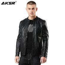 AKSR 2019 Fashion Mens Autumn PU Leather Jacket Slim Men Faux Biker Moto Chaqueta Cuero Hombre