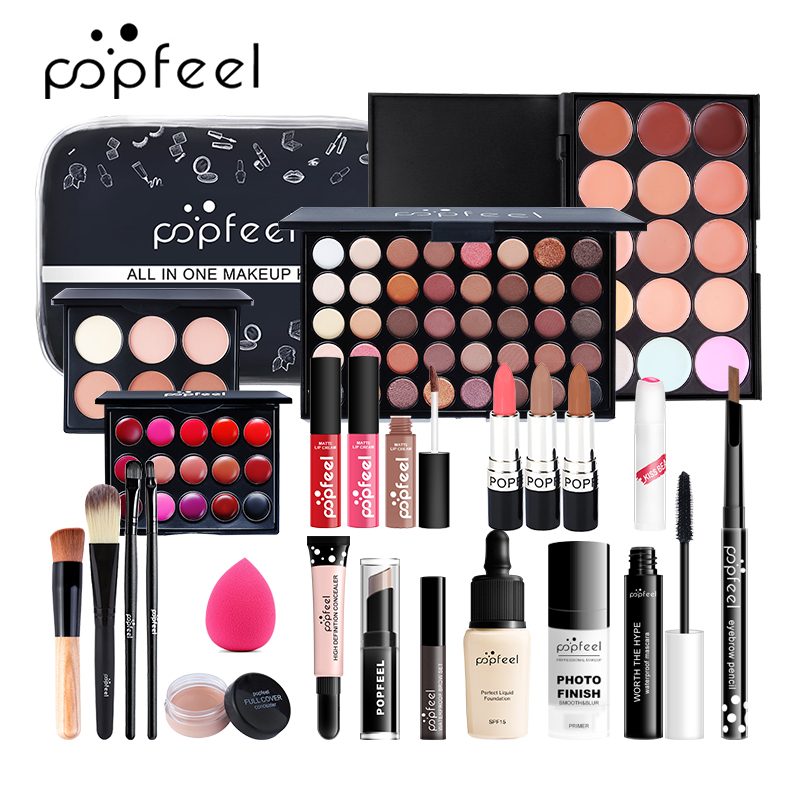 POPFEEL New ALL IN ONE 15 20 24Pcs Makeup Set Matte Eyeshadow Lipgloss Lipstick Makeup Brushes Eyebrow Concealer With Makeup Bag