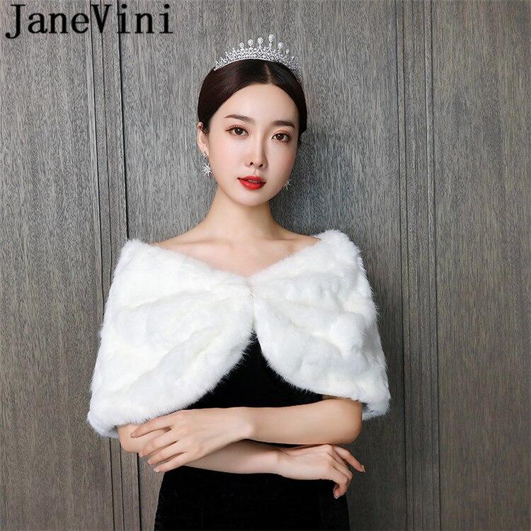 JaneVini Winter Bride Fur Coat Bridal Top Wraps Shoulder Cover Capes Evening Jacket For Women Fake Fur Bolero Novia Kadın Ceket