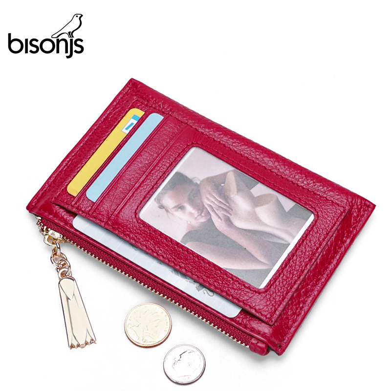 BISONJS Genuine Leather Women Wallets ID Card Holder Ladies Wallet Plaid Coin Pocket Small Purses High Quality B3287