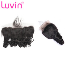 Closure Human-Hair Lace-Frontal Luvin Wave Brown Ear-To-Ear Remy Hair-13x4 Brazilian