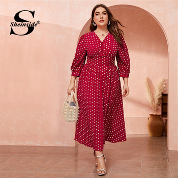 Sheinside Plus Size Casual Polka Dot Print Dress Women 2019 Autumn 3/4 Sleeve Button Up High Waist Dresses Ladies V Neck Dress
