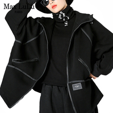Max Lulu Winter Nieuwe Europese Fashion Dames Punk Stijl Jassen Womens Black Warm Losse Jassen Casual Hooded Oversized Streetwear