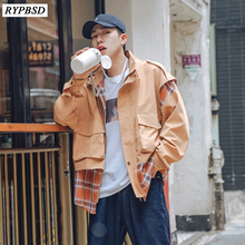 New 2019 Fake Two-piece Plaid Jacket Men Zipper Long Sleeve Stand Collar Patchwork Fashion Mens Windbreaker