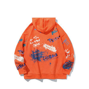 Image 2 - SingleRoad Mens Hoodies Men 2020 Harajuku Hip Hop Printed Oversized Fleece Japanese Streetwear Sweatshirt Male Orange Hoodie Men