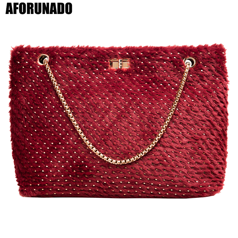 Fashion Winter Velour Large Capacity Women Handbags High Quality Chain Ladies Shoulder Bag New Casual Female Messenger Tote Bags
