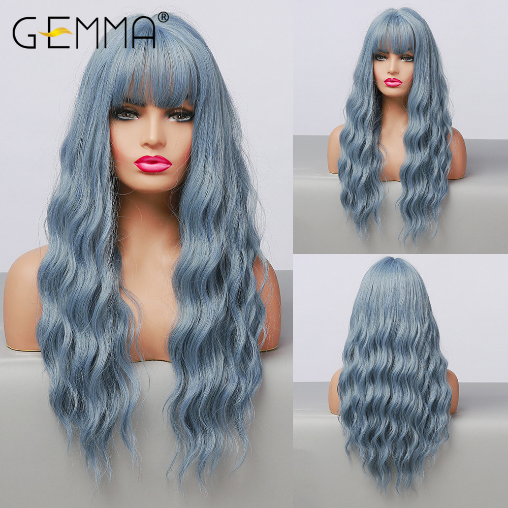 GEMMA Long Water Wave Blue High Temperature Wigs for Black White Women Afro Cosplay Party Daily Synthetic Hair Wigs with Bangs