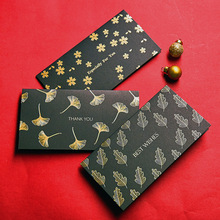 10sets  Business Hot Stamping Black Thank You Card Ginkgo Leaf Cherry Blossom Art Blessing Handmade DIY Childrens Day Greeting