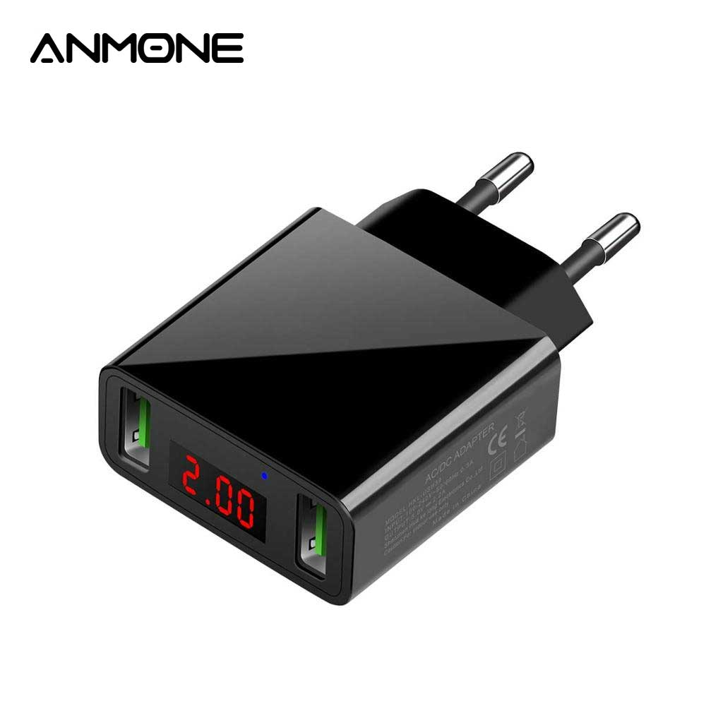 ANMONE LED 2 Port USB Charger Dual Charge Universal Mobile Charger Max 2.2A Smart Current Output Wall Adapter Charging for Phone