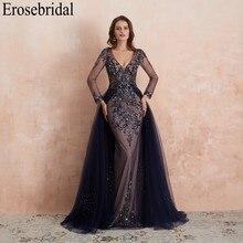 Erosebridal profundo azul manga longa vestido de noite longo 2020 pesado beading uma linha vestido de noite elegante feminino vestido de festa de formatura usar zíper