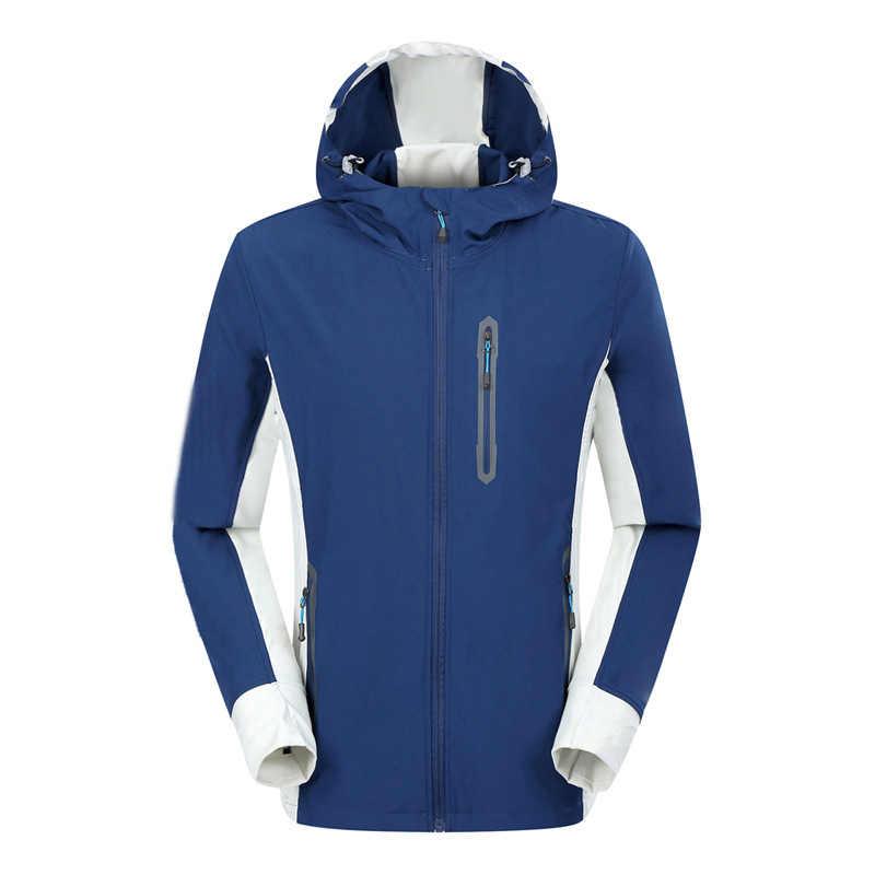 Wiosenna męska szybkoschnąca kurtka turystyczna Outdoor Camping wodoodporna pojedyncza warstwa Running bluzy Trekking kolarstwo odzież z kapturem