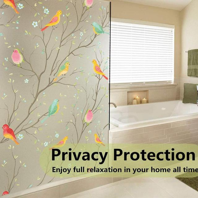 Matte 3D Privacy Window Film Non-Adhesive Frosted Bird Decorative Vinyl Glass Film Static Cling Stained Window Stickers for Home 2