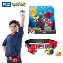 TOMY-Bolsa de almacenamiento con cinturón de Pokémon, conjunto de figuritas muñeca de Pokémon de bolsillo genuino, juego de batalla de Pikachu, regalos de juguete para Cosplay