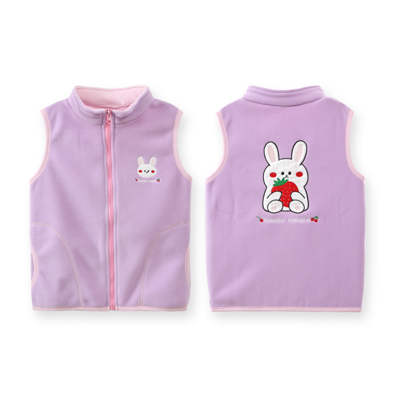Fashion Polar Fleece Vest For Boy Turleneck Embroidery Cartoon Pattern Autumn Baby Girls Waistcoat Clothes Thick Children Vests 6