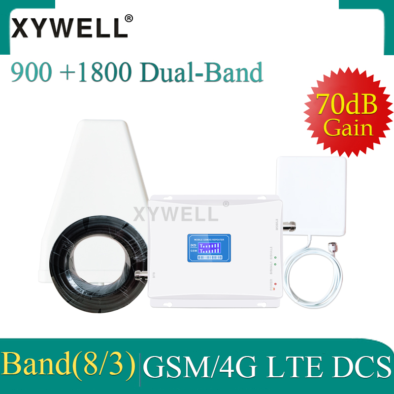 XYWELL 4G Signal Booster Dual Band 2G 1800 Repeater 4g GSM 900 LTE 1800 Mobile 70dB Signal Booster 4G Cellular Signal Amplifier