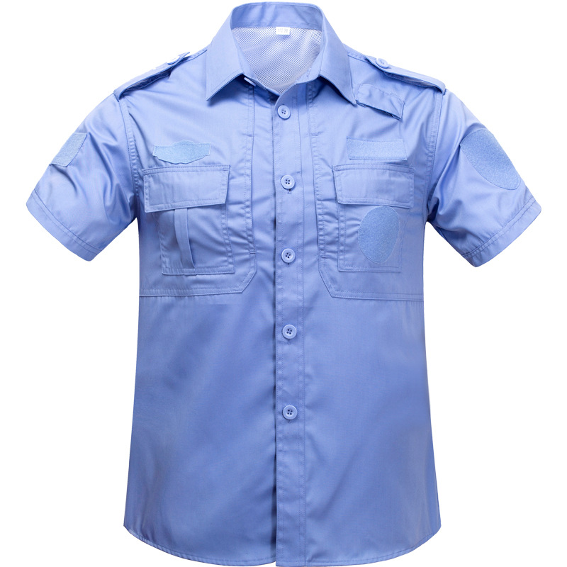 Summer Security Staff Clothing Short Sleeve Blue And White Black And White With Pattern Security Staff Uniform Security Training