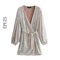 elegant v neck Silver Sequins party Dress Women mini sexy sexy dresses autumn Long Sleeve club wrap womens dresses 2019 vestidos