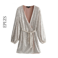 elegant v neck Silver Sequins party Dress Women mini sexy sexy dresses autumn Long Sleeve club wrap womens dresses 2019 vestidos