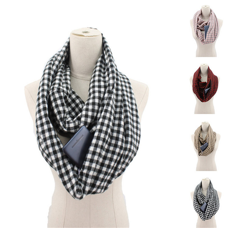 2019 winter plaid   scarf   with pocket knitted Warm Convertible Journey Women&Man   Wrap   with Secret Hidden Zipper Pocket infinity