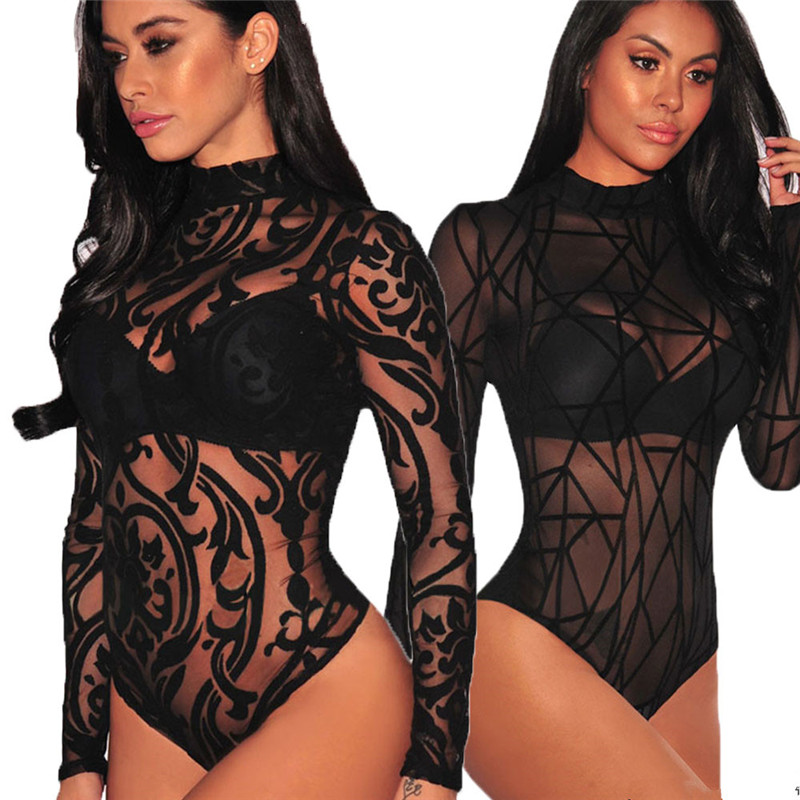 Women's Floral Lace Black Sheer Mesh Long Sleeve Bodysuit Leotard Jumpsuit Top