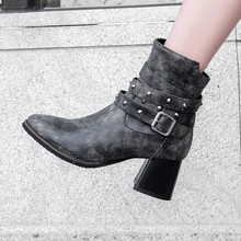 women ankle boots round toe high heels pumps autumn warm shoes woman chaussure zapatos mujer gladiator vintage PU booties wxz200