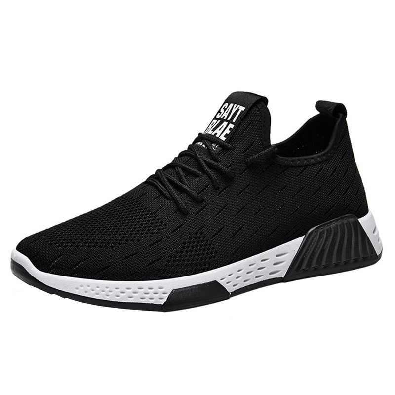 2019 Mannelijke Tennis Schoenen Lace Up Gemengde Kleur Mannen Sneakers Ademend Confort Stretch Febric Mesh Ondiepe Flats Sport Schoenen