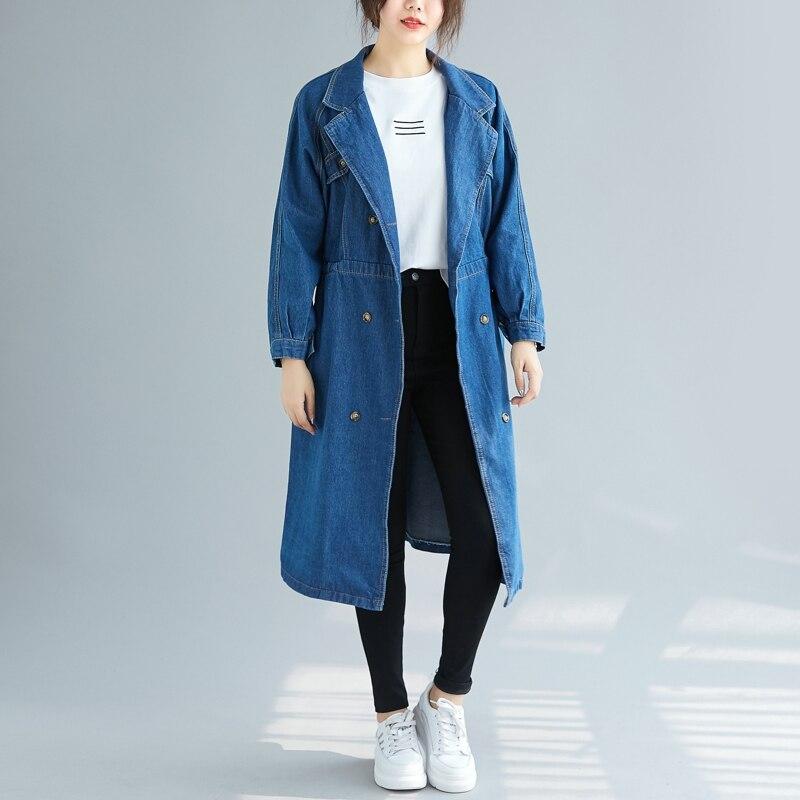 SuperAen Korean Style Denim   Trench   Coat for Women Double-breasted Wild Casual Ladies Windbreaker Autumn New 2019 Women Clothing