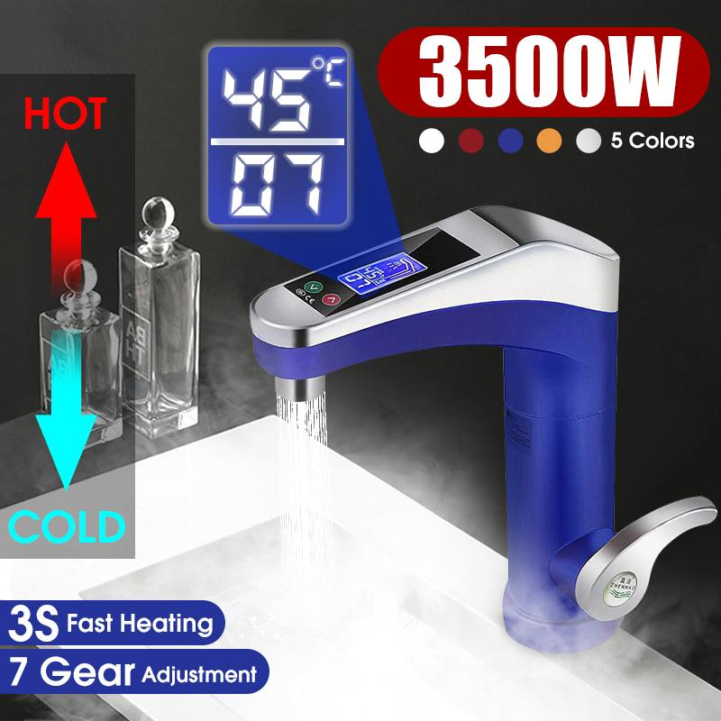 LCD Display Touch Screen Electric Water Heater Intelligent Automatic Faucet Instantaneous 3S Instant Heating Water Heater