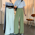 2021 Новое летнее сиреневое нарядное платье женские брюки с широкими штанинами, тонкие, высокая талия, элегантные длинные брюки свободные пов...