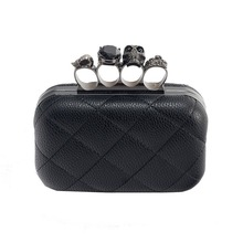 Skull ring woman evening bag vintage plaid women clutch bag Ladies messenger bags Mini black Luxury party Clutches purse 2020 brand crocodile clutch purse luxury party evening bags pu leather shoulder bag women messenger bag clutches key phone wallet