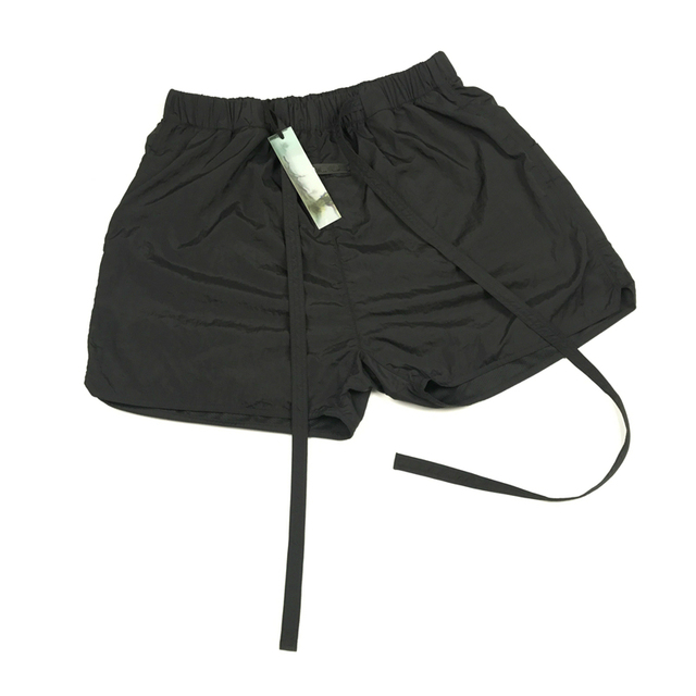 Best Version Blue Iridescent Belted Track Shorts Nylon Sweat Shorts Lined With Faux-suede 1