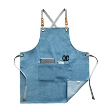 2019 fashion denim apron coffee shop and hairdresser chef protection suit bib cooking kitchen aprons for woman man overall