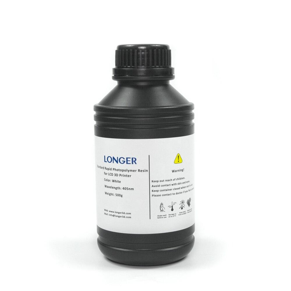 Longer Standard Rapid Photopolymer Resin For Orange Series SLA 3D Printer 500g (White)