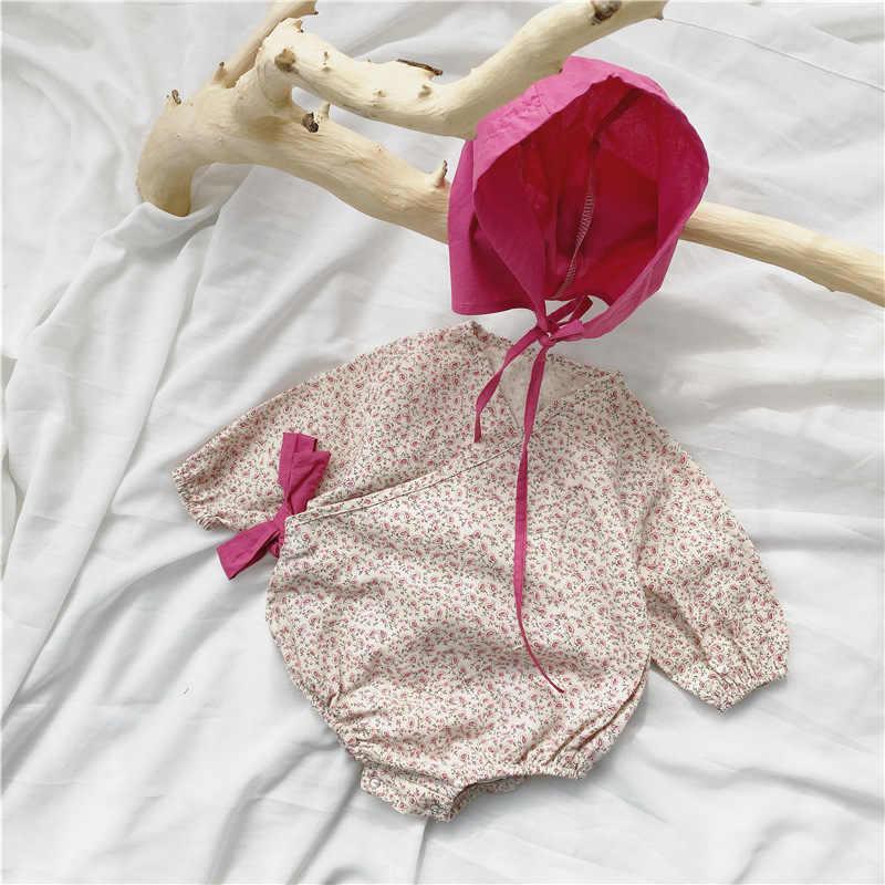 Koreaanse Stijl Voorjaar Nieuwe Bloemen Side Lace-Up Lange Mouw Bodysuits Voor Baby Meisjes Katoenen Outfits Baby Kleding