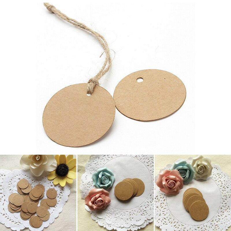 100pcs kraft paper round mini tag clothing tag DIY handmade cake baking seal tag price tag