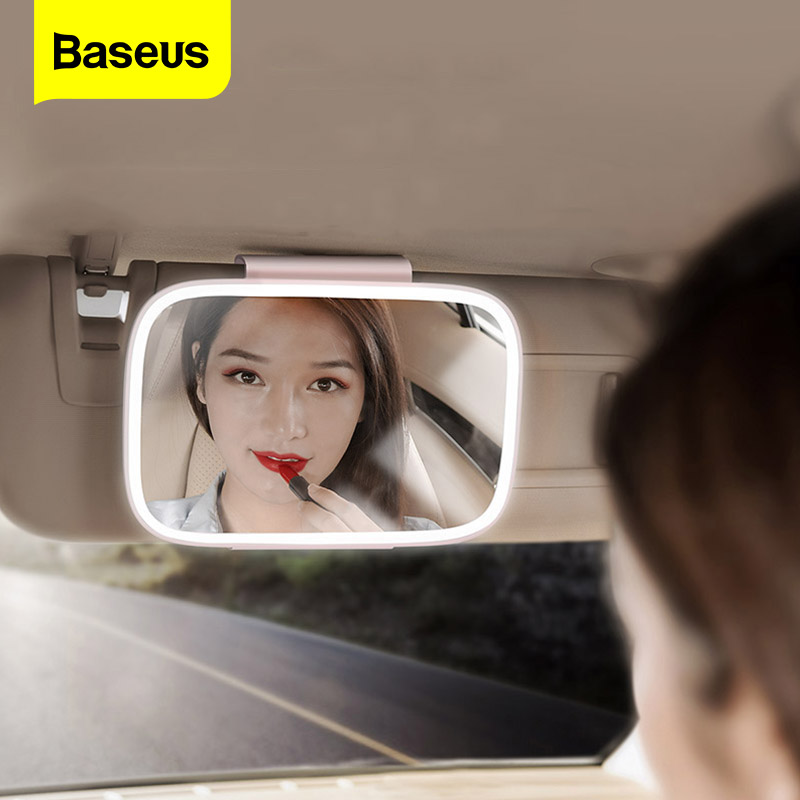 Baseus Car Interior Mirror Universal LED Auto Sun Visor Mirror Cosmetic Makeup Mirrors Automobile Decoration Mirror Car Supplies