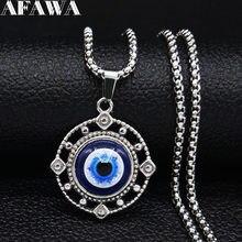 2021 modne niebieskie oko ze stalowy łańcuch naszyjnik kobiety naszyjniki w kolorze srebrnym i wisiorki biżuteria Boho kołnierz mujer N19274