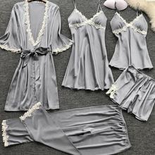 Plus Size 3XL 2020 Women Pajamas Sets Satin Sleepwear Silk 5 Pieces Nightwear Pyjama Spaghetti Strap