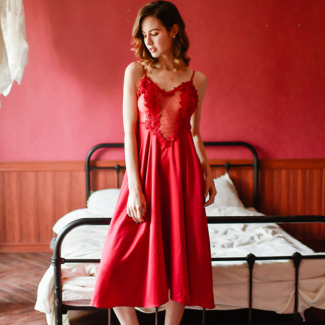 Home Clothes Silk Lace Embroidery Floral Women Sleepwear Ladies Sexy Lingerie Babydoll Nightdress Nightgown Homewear