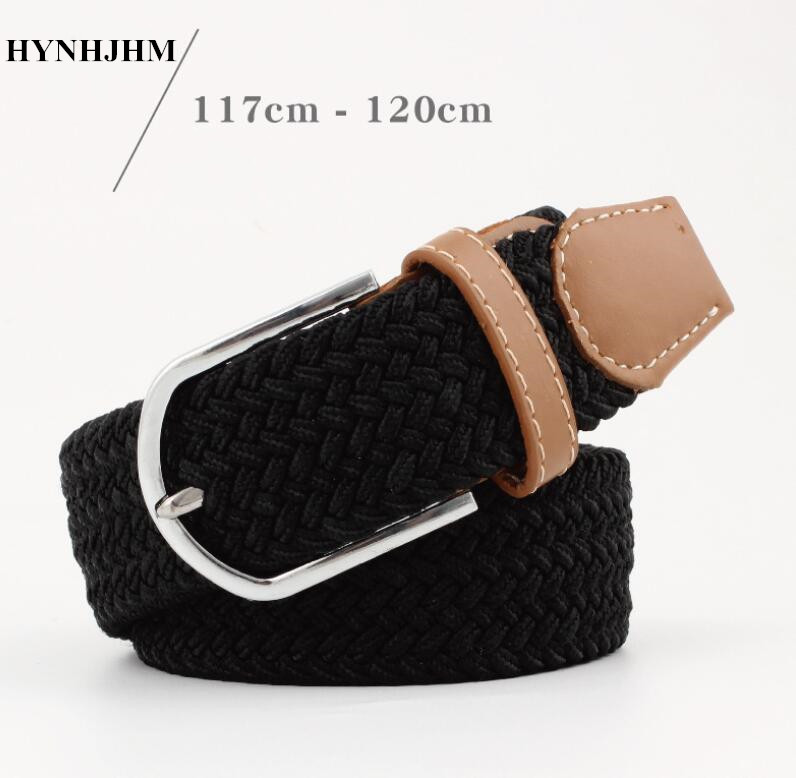 Fashion 120cm Men Women Casual Knitted Pin Buckle Belt Woven Canvas Elastic Stretch Belts Plain Webbing