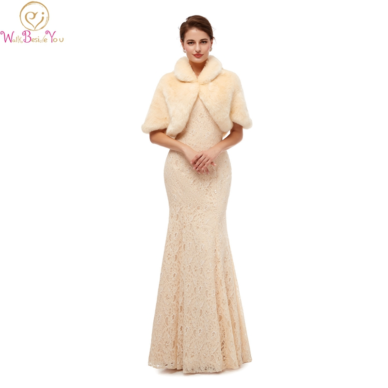 Ivory Wraps Fur 2020 for Wedding Evening Dress Cape Shawls Autumn Winter Women Bolero Wrap 100% Real Picture Stock For marriage