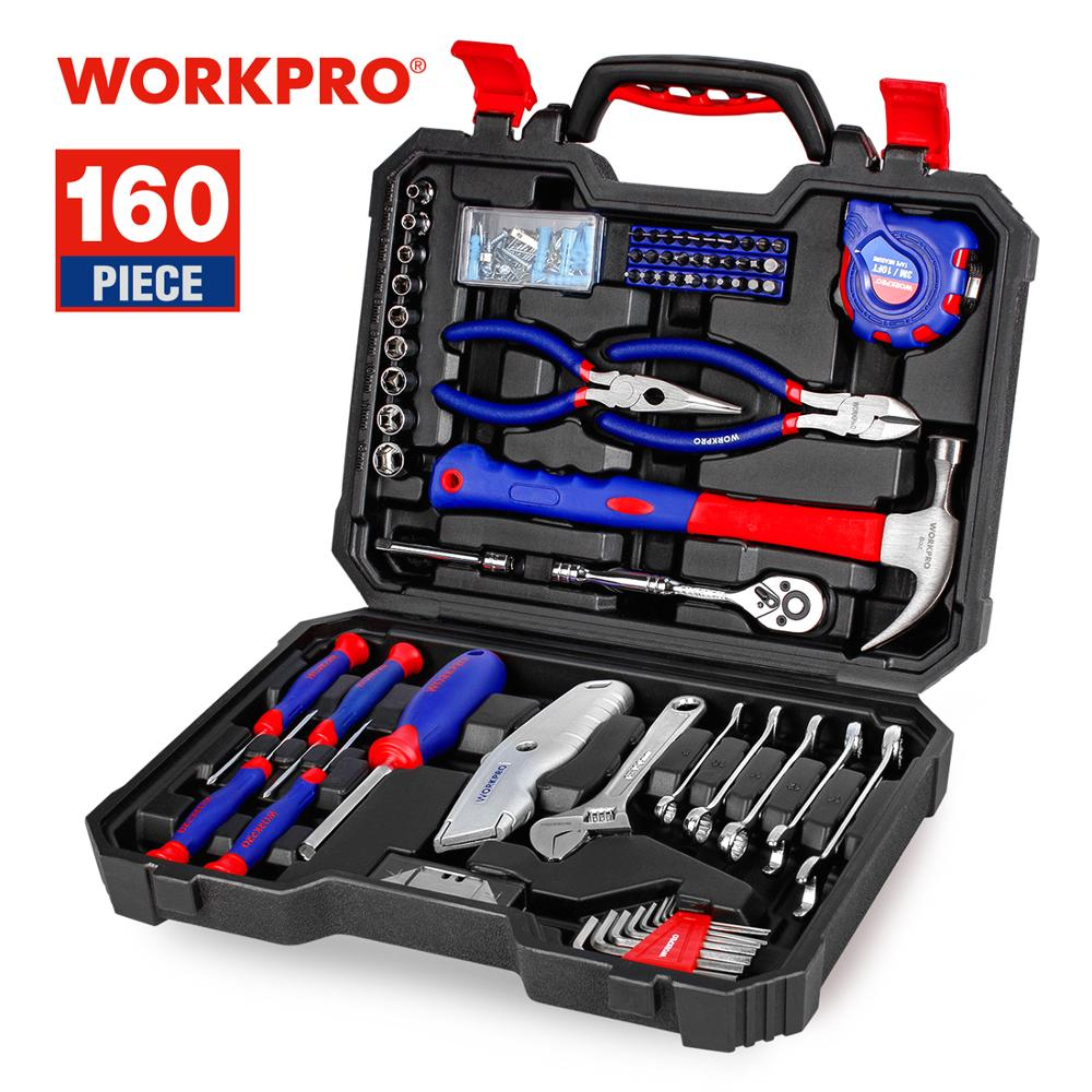 WORKPRO 160PC home Tool Set Hand Tools for Daily Use Househould Tool Kits Screwdriver Set Wrench Knife Pliers