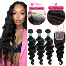 Brazilian Loose Deep Wave Bundles With HD Transparent Lace Closure Human Hair Bundles With T Part 1X4 Lace Closure Wholesale