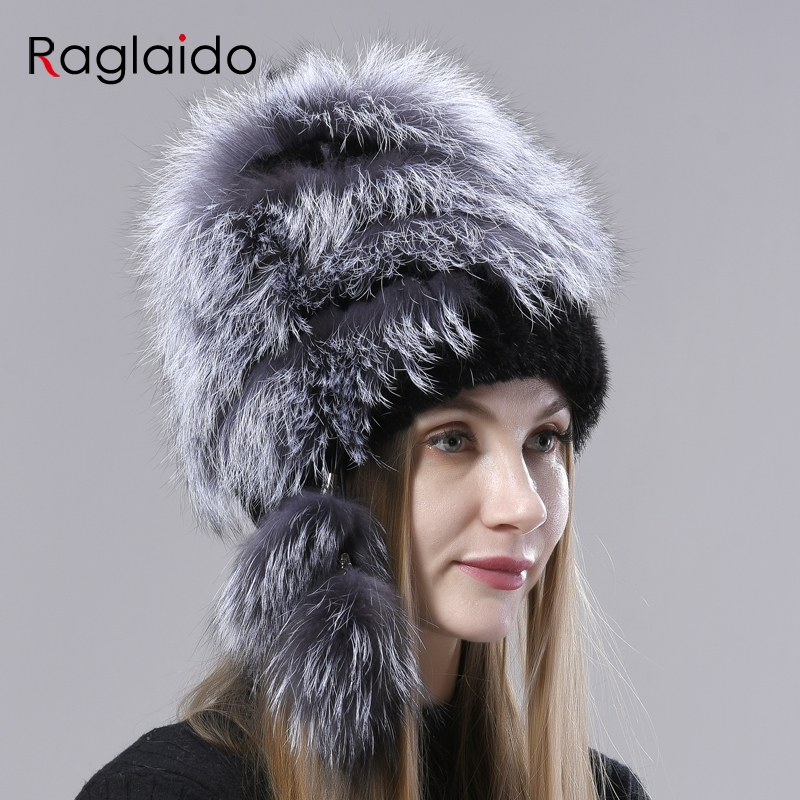 Women's Winter Hat Real Fur Knitted Natural Fox Mink Fur Hats Female  Flullfy Bomber Hats With Balls Stylish Ladies Warm Fur Hat - Mega Promo  #C04A | Cicig