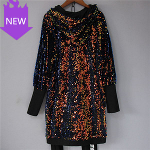 Dress Fashion Sequins Hoodie Colorful T-shirt dress plus size  Women Sequined Hooded Dress Long Sleeve Shine Bottoming